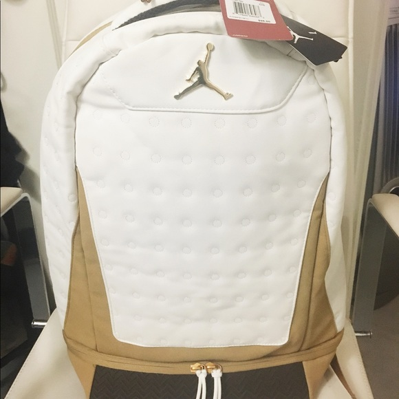 41d54e7d4677ea NWT Jordan Retro 13 Backpack White Black Metallic